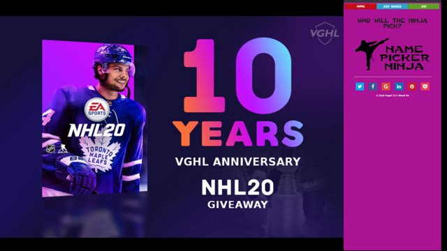 VGHL 10 Year Anniversary Giveaway