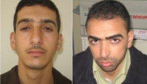 Marwan Kawasme (right) and Amer Abu Aysha, suspected by Israel of kidnapping three Israeli teens (photo credit: Times of Israel)