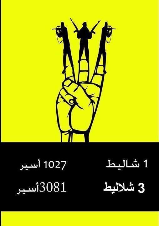 1 Shalit=1027 prisoners, 3 Shalits= 3081 prisoners Source: idfblog.com