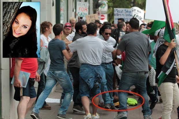 """""""Free,free Palestine"""". 22-year old Calgary native Samantha Hamilton (insert) lies unconscious on the ground after being brutally beaten by six """"pro-Palestine"""" thugs. A """"pro-Gaza"""" demonstration turned into a lynching of a small group of Canadian Jews holding a token demonstration on the other side of the street."""
