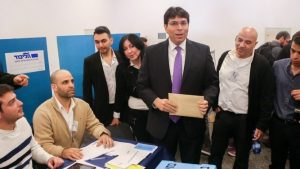Likud MK Danny Danon casts his vote in the Likud primary elections on December 31, 2014. (Photo credit: Flash90)