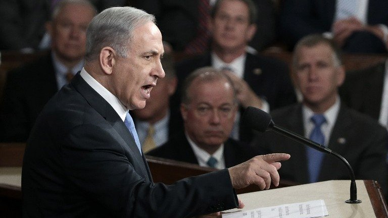 Prime Minister Benjamin Netanyahu addresses a joint meeting of the United States Congress in the House chamber at the US Capitol in Washington, DC on Tuesday, March 3, 2015 (Win McNamee/Getty Images/AFP)