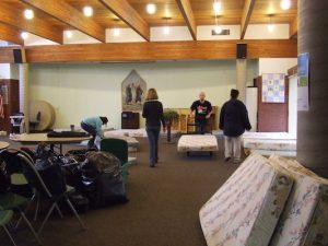 Setting up for the Interfaith Family Shelter