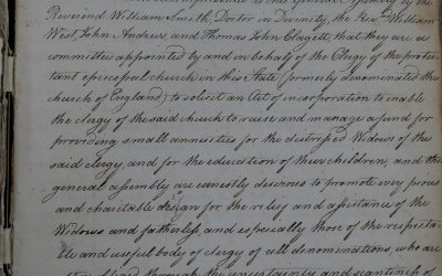 From the Archives: The Corporation for the Relief of the Widows and Children of the Clergy of the Protestant Episcopal Church in Maryland