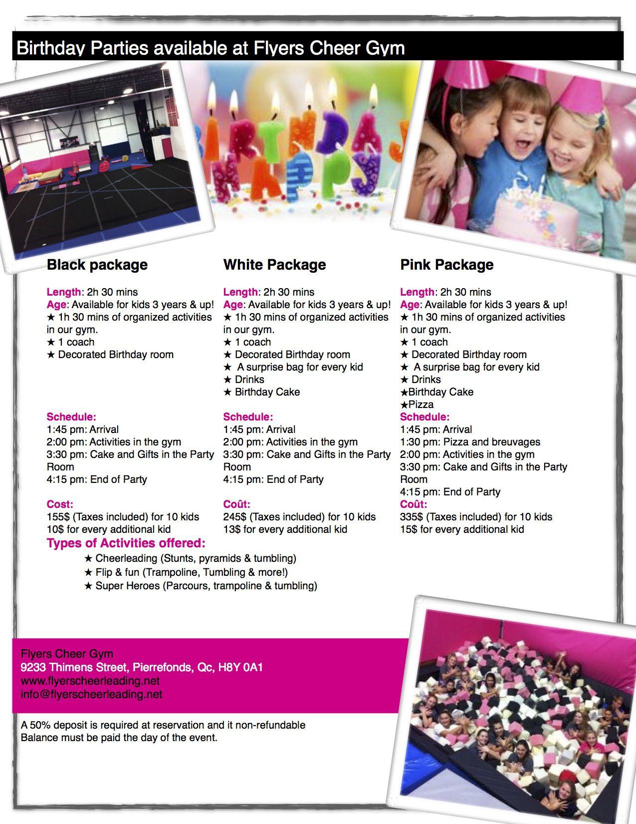 flyers cheerleading fêtes d enfants birthday parties