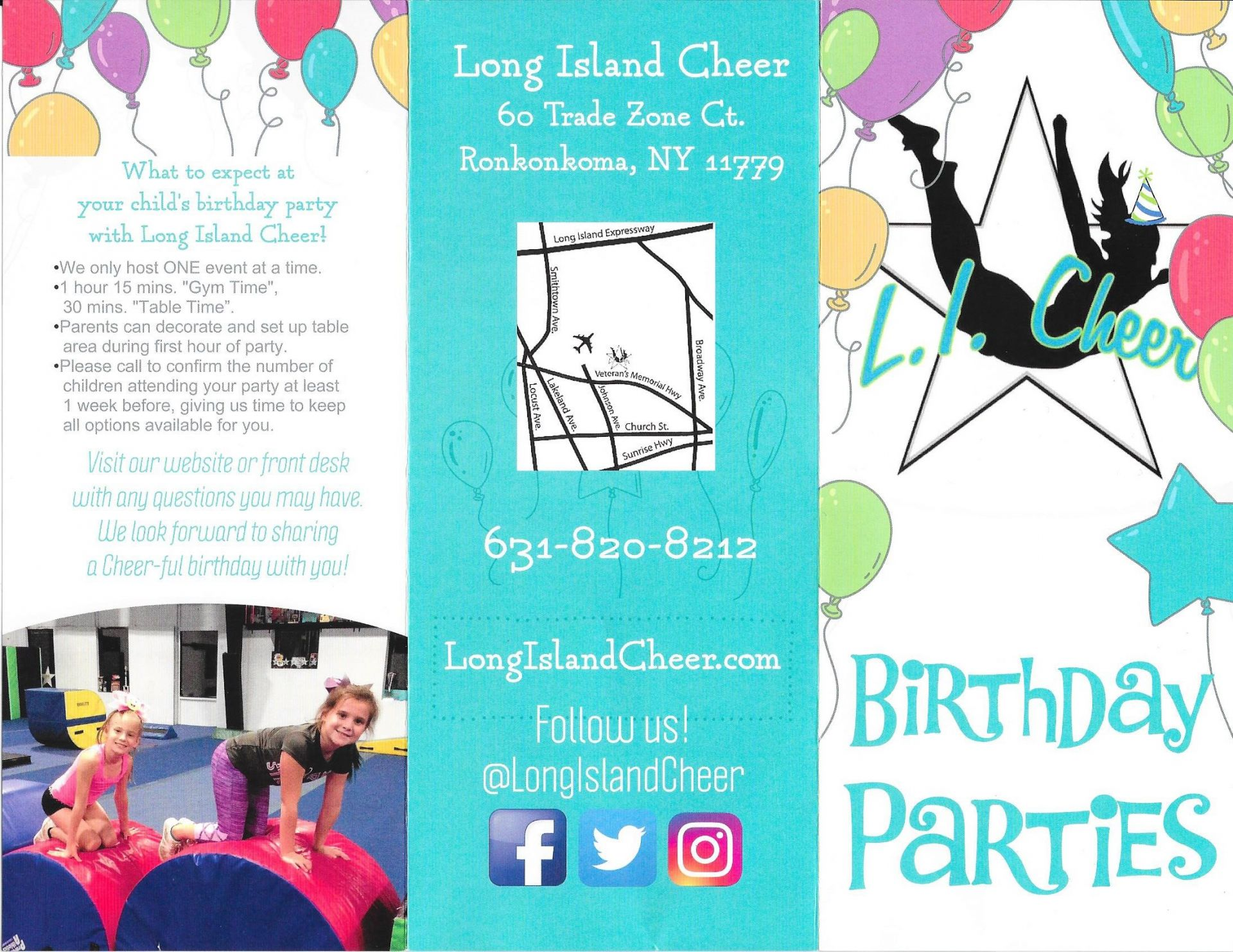 Below Is Our Birthday Party Brochure If There Are Any Questions Please Give Us A Call At 831 820 8212 Long Island Cheer