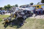 Photos: Four school children killed as bus and taxi crash