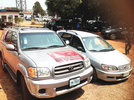 Campaign posters of candidate pasted on stolen vehicle