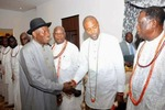Photos: GEJ meets with Ijaw Leaders, Urhobo Stake holders, others in Delta