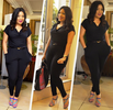 Monalisa Chinda lovely in Tom Ford black jumpsuit