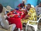 Photos: Governor Ayo Fayose spotted eating Amala at a Buka