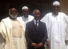 Pic: Buhari meets former SA President Thabo Mbeki & Abdusalam Abubakar