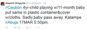 4 year old accidentally kills 11month baby in Abuja