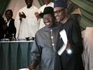 Photos: Pres. Jonathan & Buhari hug as they sign peace accord this morning