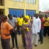 Photo: Governor Fashola and wife on queue to get accredited