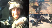 New pics shows sick Paris terror mastermind laughing as he drags the corpses of his Syrian victims behind his truck