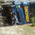 Photo: Trailer with 40ft container falls in Lagos