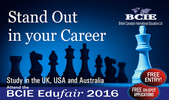 Meet with over 25 University Delegates from the UK, USA and Australia @the BCIE Edufair 2016 for free Admission on the Spot