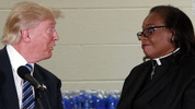 Female Pastor interrupts Trump to stop him from attacking Clinton during church service