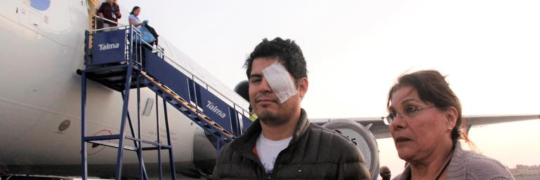 Man wearing eye dressing.