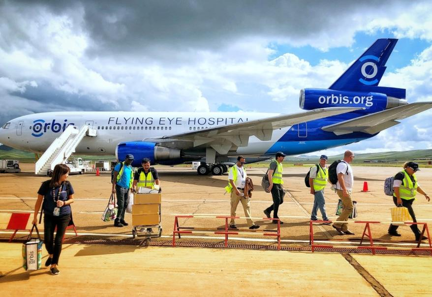 Flying Eye Hospital being unloaded in Mongolia