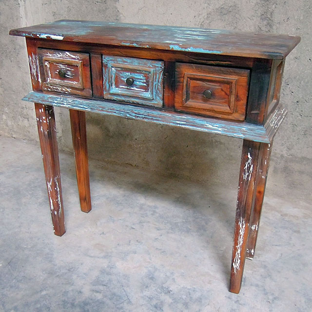 Three Drawer Narrow Console Table