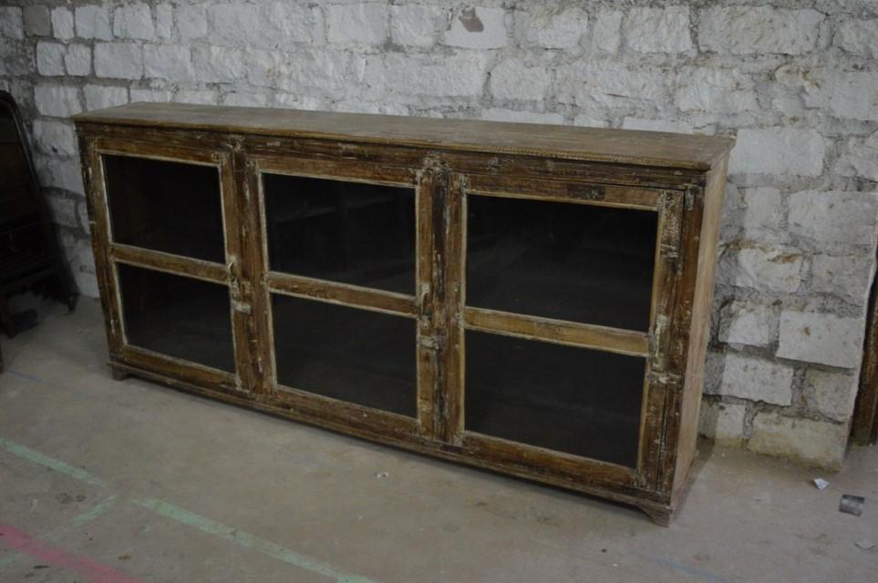 Wooden 3 Glass Door Sideboard Nadeau Paramus