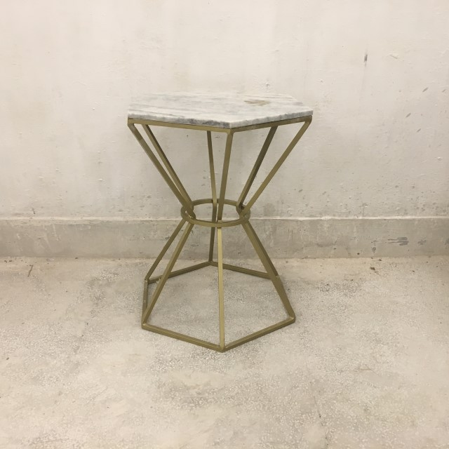 Hexagonal Iron Side Table With Marble Nadeau Memphis - Hexagon marble coffee table