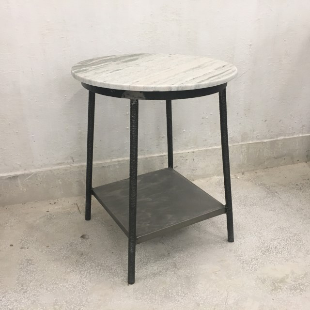 Round Side Table With Shelf And Marble Top Nadeau Atlanta