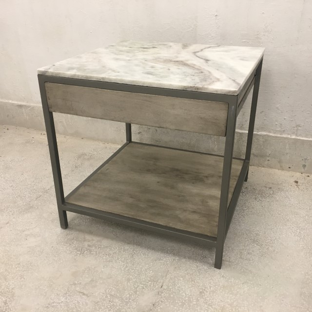 Marble Coffee Table Houston: Marble Top Side Table With Drawer