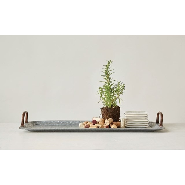 Galvanized Metal Tray With Copper Finish Handles