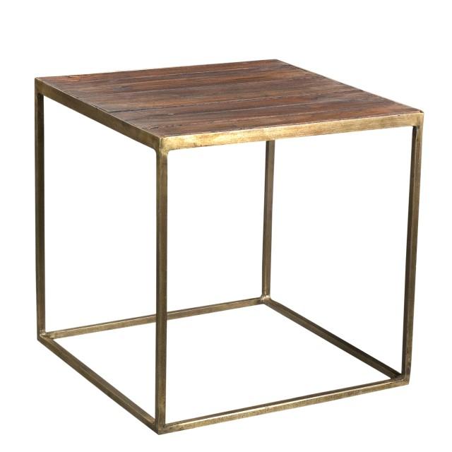 Ethan Allen Sherman Coffee Table: Iron & Teak Side Table