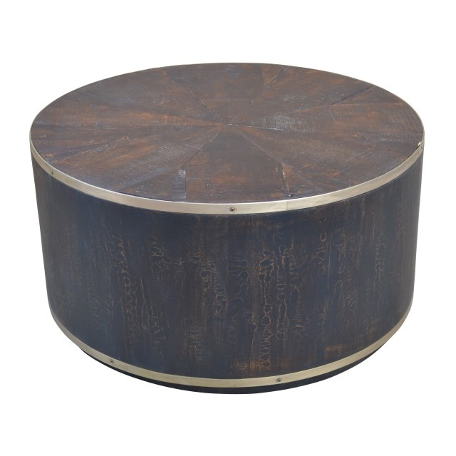 Drum Coffee Table With Brass Strip Nadeau Minneapolis