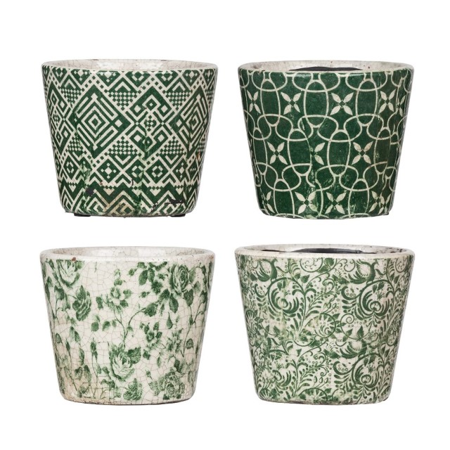 Set of Four Printed Planters - Nadeau Atlanta Planters Atlanta on