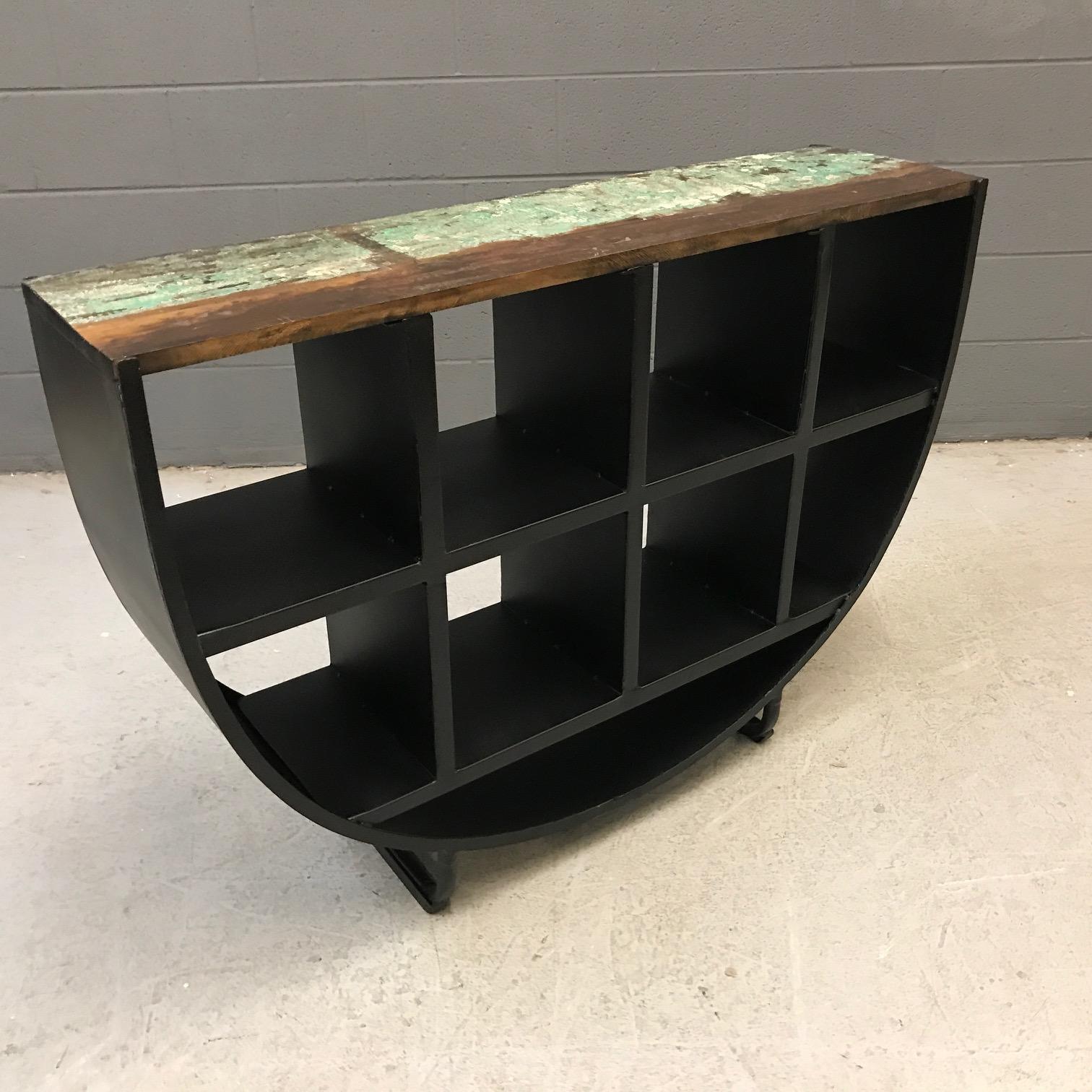 Half Round Iron And Wood Bookcase