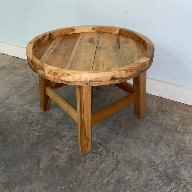round teak side table  nadeau baton rouge