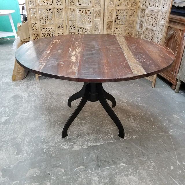 Round Metal And Wood Dining Table Nadeau Charlotte