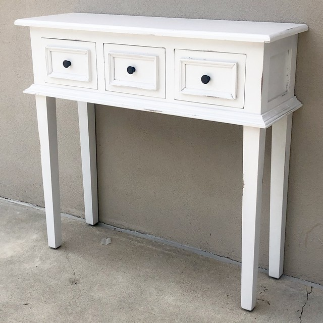 Awesome Three Drawer Narrow Console Table Pabps2019 Chair Design Images Pabps2019Com