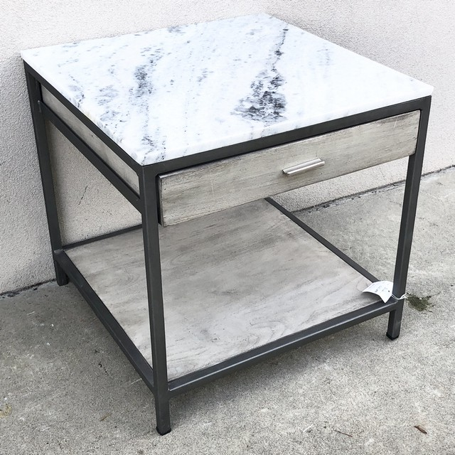 Marble Top Side Table With Drawer