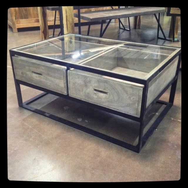 Glass Top Coffee Table with Drawers - Nadeau Dallas