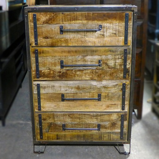 Iron And Wood Four Drawer Cabinet Nadeau Dallas