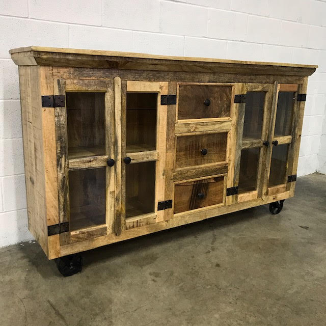 Industrial Buffet With Glass Doors And Metal Accents