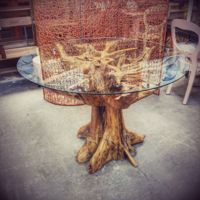 Teak Root Table with Glass Top - Nadeau Dallas