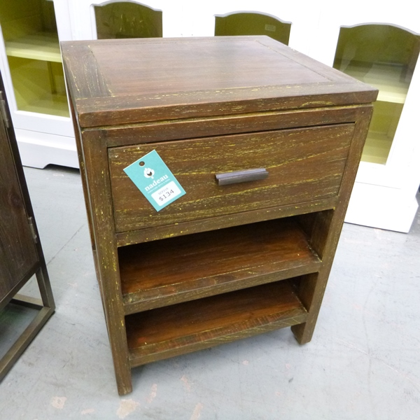 Bedside Table With Singe Drawer And Two Shelves Nadeau Houston
