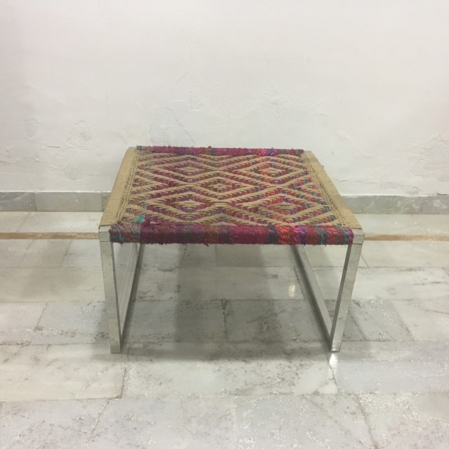 Irong Side Table With Woven Top Nadeau Marietta