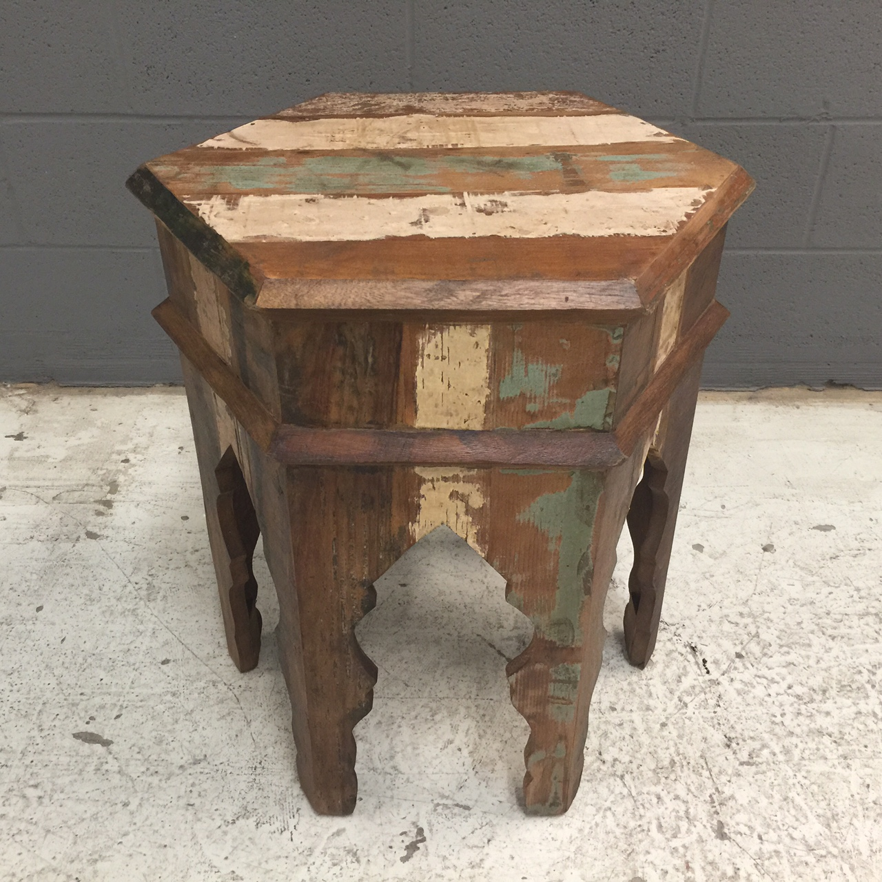 Delicieux Hexagonal Reclaimed Wood Side Table