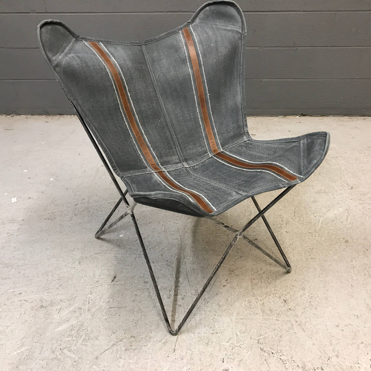 Leather And Canvas Butterfly Chair