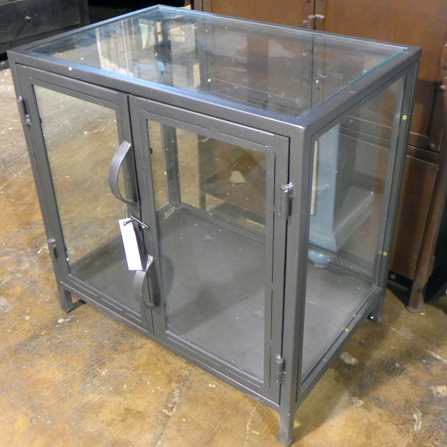 Charmant Industrial Metal And Glass Cabinet