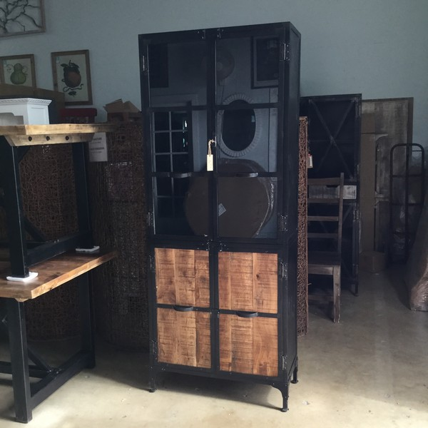 Metal And Wood Cabinet With Glass Doors Nadeau Miami