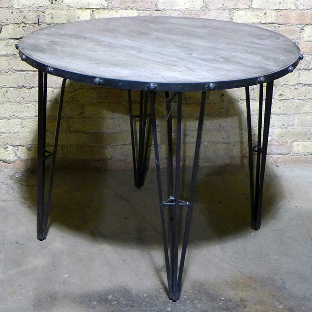 Round Iron Dining Table Nadeau Chicago